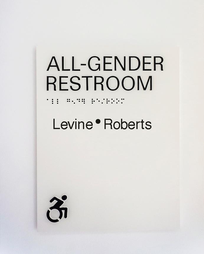 All-Gender restroom sign in New York on Thursday, June 23, 2016.  (© Richard B. Levine)