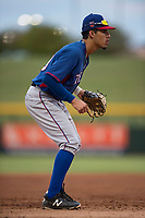 AZL Rangers third baseman Jonathan Ornelas (10) during an Arizona League game against the AZL Cubs 2 at Sloan Park on July 7, 2018 in Mesa, Arizona. AZL Rangers defeated AZL Cubs 2 11-2. (Zachary Lucy/Four Seam Images)
