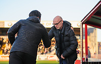 Lincoln City manager Danny Cowley, left, and Port Vale manager Neil Aspin<br /> <br /> Photographer Chris Vaughan/CameraSport<br /> <br /> The EFL Sky Bet League Two - Lincoln City v Port Vale - Tuesday 1st January 2019 - Sincil Bank - Lincoln<br /> <br /> World Copyright &copy; 2019 CameraSport. All rights reserved. 43 Linden Ave. Countesthorpe. Leicester. England. LE8 5PG - Tel: +44 (0) 116 277 4147 - admin@camerasport.com - www.camerasport.com