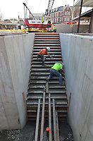 Stairs to Mechanical Room. Central Connecticut State University. New Academic Building. Project No: BI-RC-324. Architect: Burt Hill Kosar Rittelmann Associates. Contractor: Gilbane, Inc.