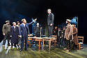 An Enemy of The People by Henrik Ibsen, a new version by Christopher Hampton directed by Howard Davies. With Adam James as Hovstad, Hugh Bonneville as Dr Tomas Stockmann[standing on table] . Opens at Chichester Festival Theatre on 4/5/16 CREDIT Geraint Lewis