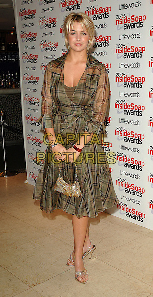 GEMMA ATKINSON.The 2006 Inside Soap Awards at Floridita..25th September 2006  London, England.full length green tartan plaid dress sheer.CAP/BEL.© Tom Belcher/Capital Pictures.