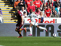 Pictured L-R: Matija Nastasic of Manchester City against Nathan Dyer of Swansea.  Saturday 04 May 2013<br />