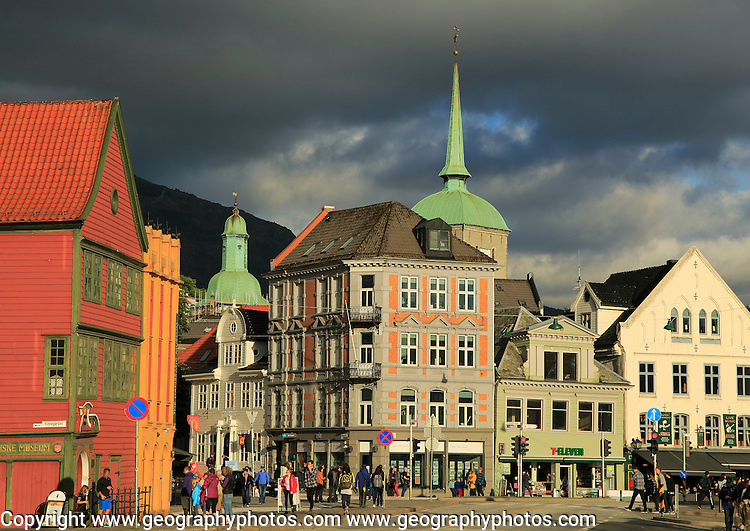 Historic buildings in the Torget market square area of Vagen harbour, Bergen, Norway
