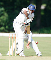 M Arshad bats for Harrow Town during the Middlesex County Cricket League Division Two game between Hornsey and Harrow Town at Tivoli Road, Crouch End on Sat Sept 3, 2011