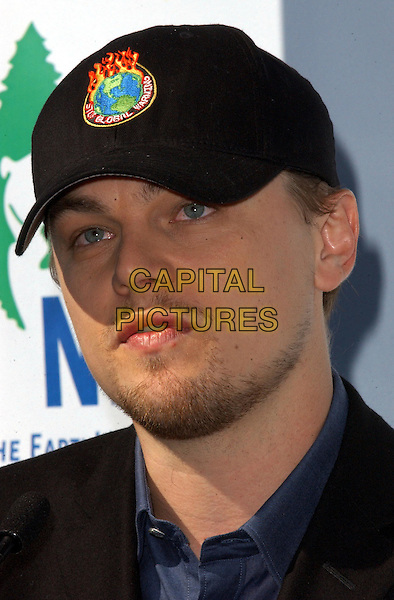LEONARDO DICAPRIO.at the Dedication of the NRDC's Environmental Action Center at the NRDC Headquarters in Santa Monica, California                                                                   .22 January 2004    .*UK Sales Only*.portrait headshot baseball cap, hat.www.capitalpictures.com.sales@capitalpictures.com.©Capital Pictures.