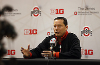 Head coach Kevin McGuff answers questions during media day for the Ohio State University women's basketball team at the Schottenstein Center on Wednesday, October 16, 2013. (Columbus Dispatch photo by Jonathan Quilter)