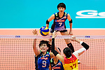 #9 Haruyo Shimamura of Japan (L) fights for the ball with #17 Ni Yan of China (R) during the match between China and Japan on May 30, 2018 in Hong Kong, Hong Kong. (Photo by Power Sport Images/Getty Images)