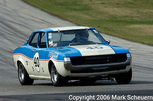 Kohler International Challenge with Brian Redman, 2006<br /> <br /> Lisa Weinberger races her ex-Janet Guthrie 1972 Toyota Celica GT at the 2006 Kohler International Challenge with Brian Redman<br /> <br /> Please contact me for full-size images.<br /> <br /> For non-editorial usage, releases are the responsibility of the licensee.