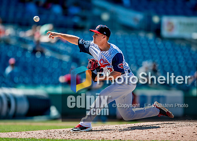 22 July 2018: Syracuse SkyChiefs pitcher Trevor Gott on the mound against the Louisville Bats at NBT Bank Stadium in Syracuse, NY. The Bats defeated the Chiefs 3-1 in AAA International League play. Mandatory Credit: Ed Wolfstein Photo *** RAW (NEF) Image File Available ***