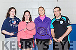 Maura Bradley Kingdom, Mairead O'Connell Kingdom, Edel Broderick Tralee, Paul Mertine Killarney at the Kerry County Badminton Championships in Killarney on Sunday