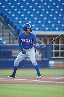 AZL Rangers Angel Aponte (78) at bat during an Arizona League game against the AZL Brewers Blue on July 11, 2019 at American Family Fields of Phoenix in Phoenix, Arizona. The AZL Rangers defeated the AZL Brewers Blue 5-2. (Zachary Lucy/Four Seam Images)