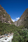 The Andes Mountains with the Urubamba River in between Aguas Calientes and Ollantaytambo Peru.