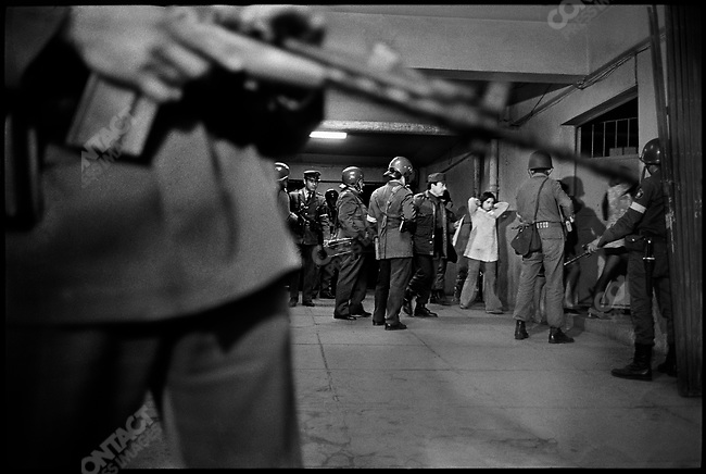 Suspected opponents are detained for interrogation in the basement of the National Stadium by the junta after the military coup d'Etat. Santiago, Chile, September 22, 1973