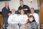 Charity Shaves - There was a night of charity hair removal in The Kerins O'Rahillys GAA clubhouse on Saturday night as Sean Hickey, seated left, had his beard shaved off, Jackie Landers, seated centre, had her head shaved and Declan Connelly, seated right had his legs waxed all in aid of The Irish Cancer Society, doing the shaving from The Barbers, Ashe St., were Alan O'Connor and Joe O'Brien at the back and Aoife McEllistrim in front was on waxing duty..