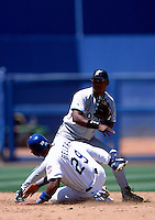 Luis Castillo of the Florida Marlins participates in a Major League Baseball game at Dodger Stadium during the 1998 season in Los Angeles, California. (Larry Goren/Four Seam Images)