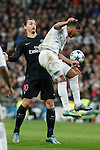 Real Madrid´s Casemiro (R) and Paris Saint-Germain´s Zlatan Ibrahimovic during Champions League soccer match between Real Madrid  and Paris Saint Germain at Santiago Bernabeu stadium in Madrid, Spain. November 03, 2015. (ALTERPHOTOS/Victor Blanco)