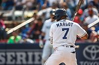 Manuel Margot.<br /> Acciones del partido de beisbol, Dodgers de Los Angeles contra Padres de San Diego, tercer juego de la Serie en Mexico de las Ligas Mayores del Beisbol, realizado en el estadio de los Sultanes de Monterrey, Mexico el domingo 6 de Mayo 2018.<br /> (Photo: Luis Gutierrez)