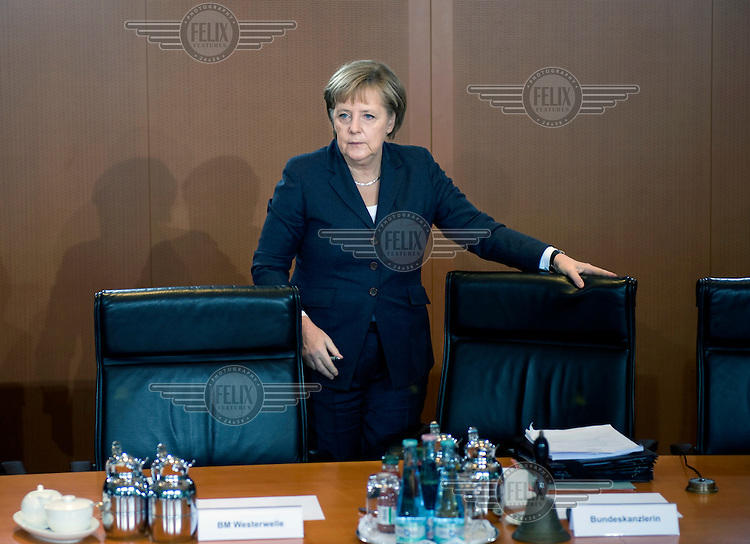 German Chancellor Angela Merkel, at a cabinet meeting held in the chancellor's office.