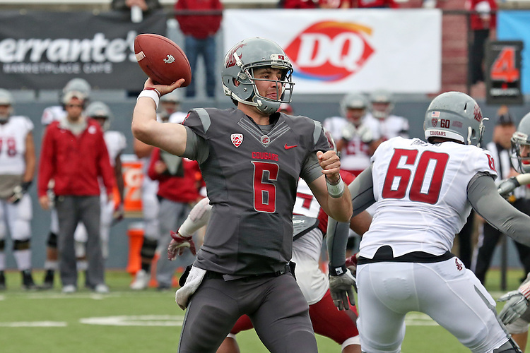 Peyton Bender fires a pass during the annual Washington State Cougar spring game, the Crimson and Gray game, at Joe Albi Stadium in Spokane, Washington, on April 23, 2016.