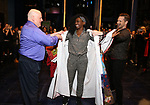 """David Westphal, Vasthy Mompoint and Marty Lawson During the Actors' Equity Opening Night Legacy Robe honoring Vasthy Mompoint for """"The Prom"""" at The Longacre Theatre on November 15, 2018 in New York City."""