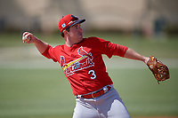 St. Louis Cardinals Jedd Gyorko (3) during a Minor League Spring Training Intrasquad game on March 28, 2019 at the Roger Dean Stadium Complex in Jupiter, Florida.  (Mike Janes/Four Seam Images)