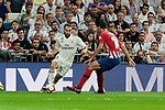 Real Madrid's Dani Carvajal and Atletico de Madrid's Rodrigo Hernandez during La Liga match between Real Madrid and Atletico de Madrid at Santiago Bernabeu Stadium in Madrid, Spain. September 29, 2018. (ALTERPHOTOS/A. Perez Meca)