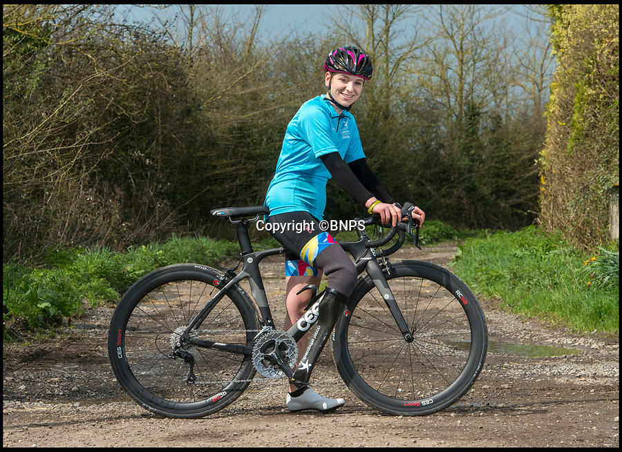 BNPS.co.uk (01202 558833)Pic: PhilYeomans/BNPS<br /> <br /> Hannah trys out her new carbon fibre cycling leg from world leading prosthetic company Dorset Orthopaedic.<br /> <br /> A Dorset girl who paid £5000 to have her foot amputated has amazingly claimed that its the best decision she ever made after losing 4 stone in weight and having her sites firmly set on the Tokyo Para-Olympics.<br /> <br /> Super fit Hannah(21) has just collected a new £10,000 carbon fibre leg that will boost her chances of winning gold in the Olympic triathalon after becoming British champion.<br /> <br /> Hannah took the life changing decision to have her right foot amputated in 2016 after years of excruciating pain from an infection caused by an ingrowing toenail.<br /> <br /> But refusing to let her misfortune get the better of her Hannah launched herself on an incredible fitness routine of running, swimming and cycling that has propelled her towards Olympic glory.