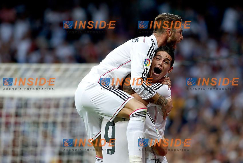 &quot;Spanish  League&quot;- match Real Madrid Vs FC Barcelona- season 2014-15 - Santiago Bernabeu Stadium - Several players of Real Madrid celebrates a goal the during the Spanish League match against FC Barcelona(Photo: Guillermo Martinez/Bouza Press/ALTERPHOTOS) <br /> Clasico<br /> Foto Insidefoto