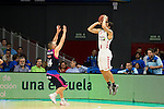 Movistar Estudiantes's Javi Salgado and Laboral Kutxa's Mike James during Liga Endesa ACB at Barclays Center in Madrid, October 11, 2015.<br /> (ALTERPHOTOS/BorjaB.Hojas)