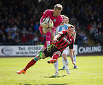 Dundee v St Johnstone...25.04.15   SPFL<br /> Steven MacLean challenges Scott Bain<br /> Picture by Graeme Hart.<br /> Copyright Perthshire Picture Agency<br /> Tel: 01738 623350  Mobile: 07990 594431