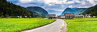Slovenia landscape, panoramic photo of a typical Slovenian landscape between Lake Bled and Lake Bohinj, Triglav National Park, Julian Alps, Slovenia, Europe