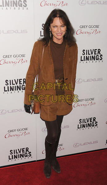 "Jacqueline Bisset.The Weinstein Company Presents A Special Screening Of ""Silver Linings Playbook"" Held At The AMPAS Samuel Goldwyn Theater, Beverly Hills, California, USA..November 19th, 2012.full length brown suede blazer jacket shorts black tights boots top belt purse gloves bag leopard print .CAP/ROT/TM.©Tony Michaels/Roth Stock/Capital Pictures"