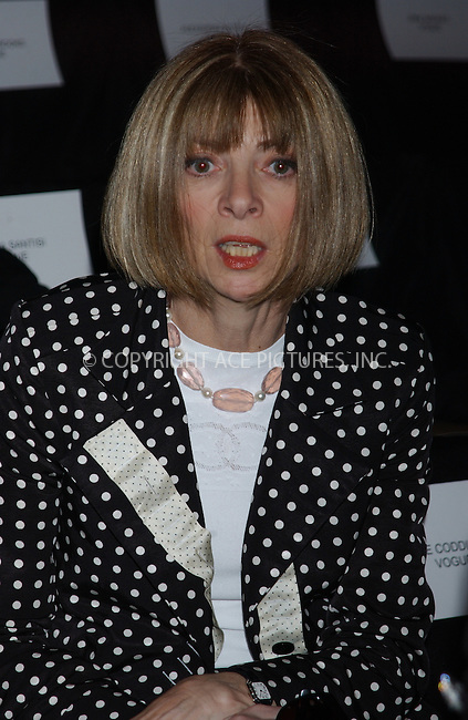 WWW.ACEPIXS.COM . . . . . ....NEW YORK, FEBRUARY 9, 2005....Anna Wintour at Day 6 of Olympus Fashion Week in Bryant Park.....Please byline: KRISTIN CALLAHAN - ACE PICTURES.. . . . . . ..Ace Pictures, Inc:  ..Philip Vaughan (646) 769-0430..e-mail: info@acepixs.com..web: http://www.acepixs.com