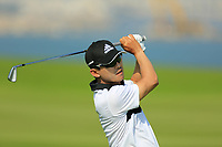Seungsu Han (USA) during the first round of the NBO Open played at Al Mouj Golf, Muscat, Sultanate of Oman. <br /> 15/02/2018.<br /> Picture: Golffile | Phil Inglis<br /> <br /> <br /> All photo usage must carry mandatory copyright credit (&copy; Golffile | Phil Inglis)