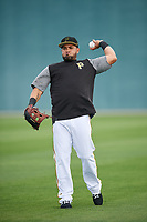 Pittsburgh Pirates Melky Cabrera (53) warms up during the teams first Spring Training practice on February 18, 2019 at Pirate City in Bradenton, Florida.  (Mike Janes/Four Seam Images)