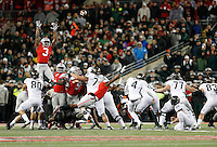 Michigan State Spartans place kicker Michael Geiger (4) kicks a 41-yard field goal as time expired during the fourth quarter of the NCAA football game at Ohio Stadium in Columbus on Nov. 21, 2015. Michigan State won 17-14. (Adam Cairns / The Columbus Dispatch)