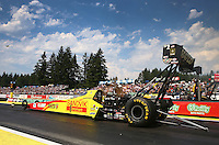 Aug. 2, 2014; Kent, WA, USA; NHRA top fuel dragster driver Antron Brown during qualifying for the Northwest Nationals at Pacific Raceways. Mandatory Credit: Mark J. Rebilas-USA TODAY Sports