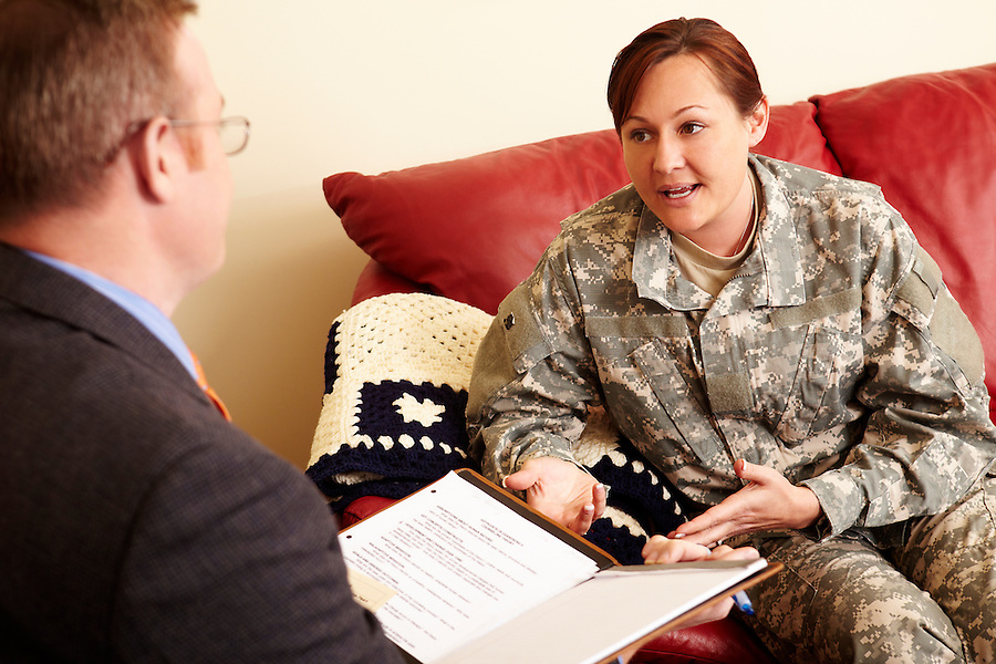 Military Student in Counseling Lab.