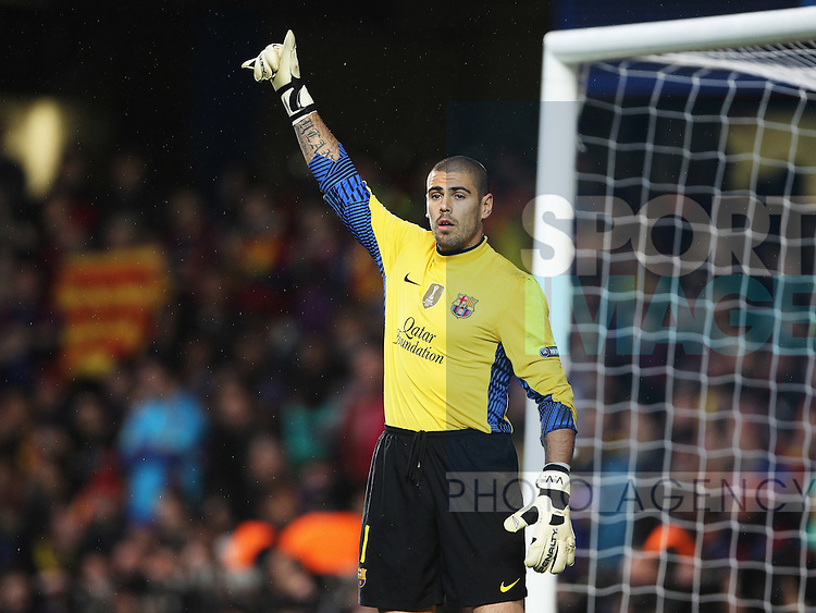 Victor Valdes of Barcelona during the..Chelsea v Barcelona Champions League Semi - Final first leg, London..18th April, 2012.--------------------.Sportimage +44 7980659747.picturedesk@sportimage.co.uk.http://www.sportimage.co.uk/.Editorial use only. Maximum 45 images during a match. No video emulation or promotion as 'live'. No use in games, competitions, merchandise, betting or single club/player....