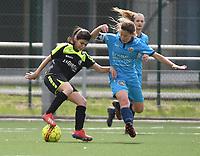 20190427 - Waregem , BELGIUM : Alaia Annot (L) and Emma Vandevelde (R)   pictured during the final of the Beker van West-Vlaanderen 2019 , a soccer women game between SV Bredene and Famkes Westhoek Diksmuide Merkem B  , in the  Mirakelstadion in Waregem , Satuday 27 th April 2019 . PHOTO SPORTPIX.BE | DIRK VUYLSTEKE