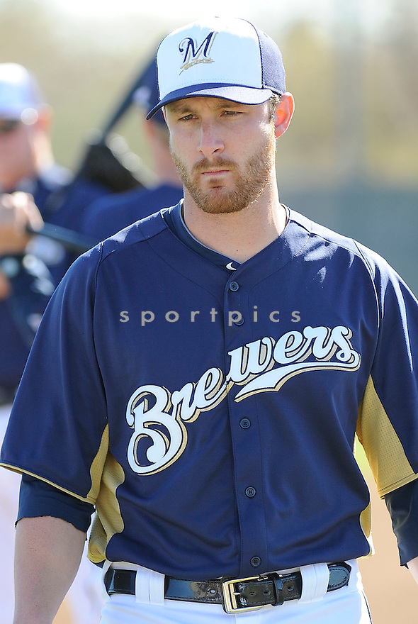 Milwaukee Brewers Jonathan Lucroy (20) at media photo day on February 17, 2013 during spring training in Phoenix, AZ.