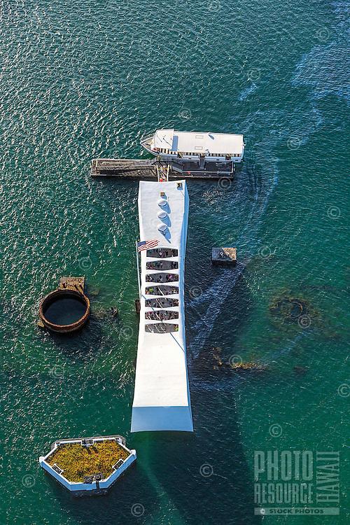 Oil still leaks from the USS Arizona Memorial, Pearl Harbor, O'ahu.