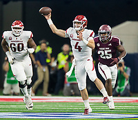 Hawgs Illustrated/Ben Goff<br /> Ty Storey, Arkansas quarterback, throws the ball in the 1st quarter vs Texas A&M Saturday, Sept. 29, 2018, during the Southwest Classic at AT&T Stadium in Arlington, Texas.