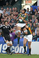 South African second row Cornell Hess collects the kick off during the U19 Championship final against New Zealand at Ravenhill, Belfast.