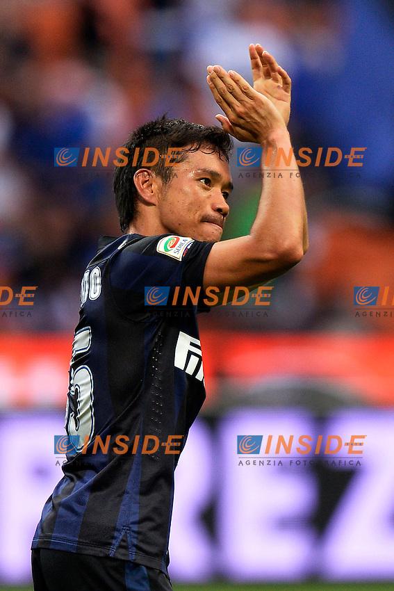 Yuto Nagatomo Inter celebrates scoring goal 1-0<br /> Gol esultanza <br /> Milano 25/8/2013 Stadio Giuseppe Meazza <br /> Football Calcio Serie A<br /> Inter - Genoa <br /> Foto Andrea Staccioli Insidefoto