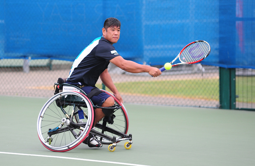Satoshi Saida (JPN) [1] in action against Henry De Cure (AUS) [3] in the Men's Singles Consolation Final - Satoshi Saida (JPN) [1] def Henry De Cure (AUS) [3] 6-0 6-0<br /> <br /> Tennis - British Open Wheelchair Tennis Championships - Sunday 21st July 2012 - Nottingham Tennis Centre - Nottingham<br /> <br /> &copy; Tennis Foundation/James Jordan - The National Tennis Centre - 100 Priory Lane - Roehampton - London - SW15 5JQ - Tel 020 8487 7304 - info@tennisfoundation.org.uk