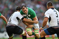 Devin Toner of Ireland takes on the Romania defence. Rugby World Cup Pool D match between Ireland and Romania on September 27, 2015 at Wembley Stadium in London, England. Photo by: Patrick Khachfe / Onside Images