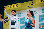 The race is stopped in Val d'Isere due to heavy hailstorms and impassable road with the times taken at the summit of Col d'Iseran meaning Egan Bernal (COL) Team Ineos takes over the race leaders Yellow Jersey and also retains the young riders White Jersey at the end of Stage 19 of the 2019 Tour de France originally running 126.5km from Saint-Jean-de-Maurienne to Tignes but cut short to 88.5 km, France. 26th July 2019.<br /> Picture: ASO/Thomas Maheux | Cyclefile<br /> All photos usage must carry mandatory copyright credit (© Cyclefile | ASO/Thomas Maheux)