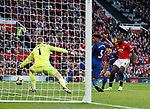 Romelu Lukaku of Manchester United scores the third goal during the premier league match at the Old Trafford Stadium, Manchester. Picture date 17th September 2017. Picture credit should read: Simon Bellis/Sportimage